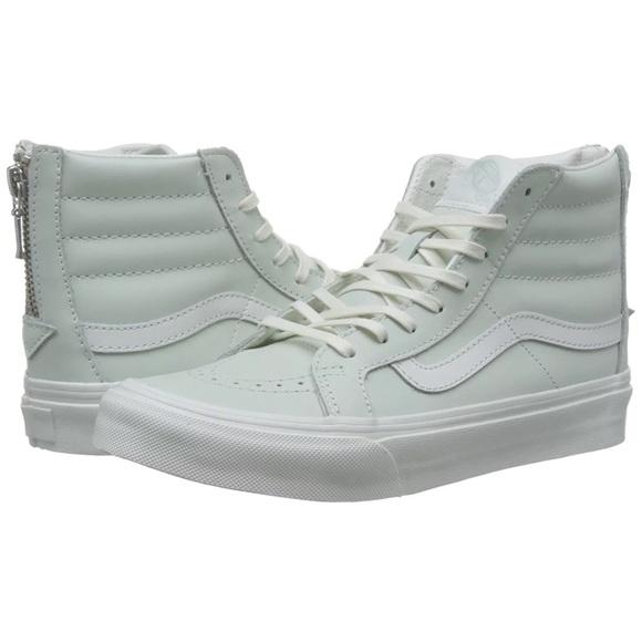 Vans Other - Vans hi top zip leather zephyr blue white 8.5 shoe